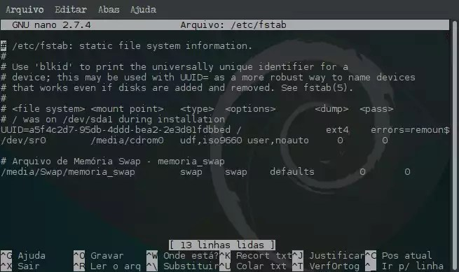 Criar arquivo de memória Swap e ativar no sistema - nano