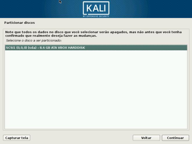 Kali Linux - Selecione o disco a ser instalado
