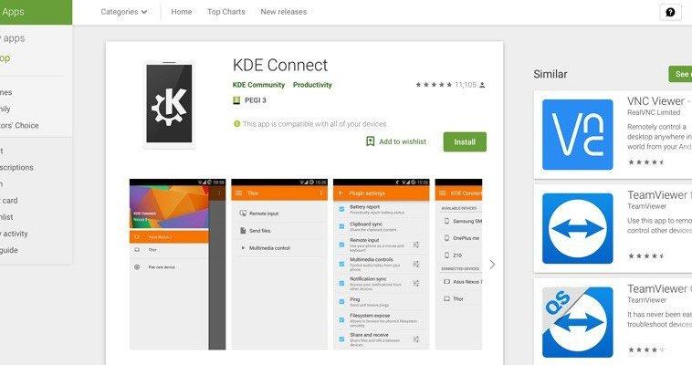 Google remove KDE Connect da Play Store