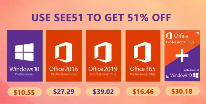Promoção de Verão: Windows 10 pro key por $10.55, Office 2016 Pro por $27.29, and Office 2019 Pro por $39.02 na MMORC.COM