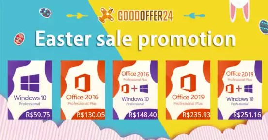 Promoção GoodOffer24: Windows 10 Pro Professional CD-KEY (32/64 Bit) R$ 59.75