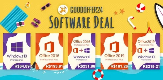 Aproveite as ofertas da GoodOffer24 com Windows 10 Pro por apenas R$ 64,89 e Office 2019 Pro R$ 181,26