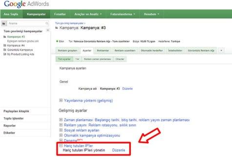 Adwords IP filtreleme