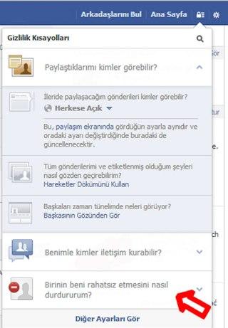 Facebook kişi engellemek