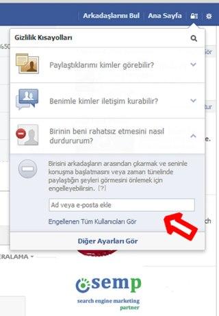 Facebook kullanıcı engellemek
