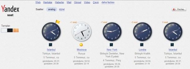 yandex saatler