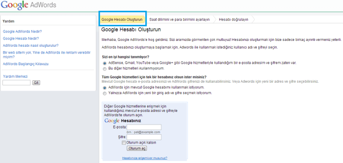 adwords hesabı