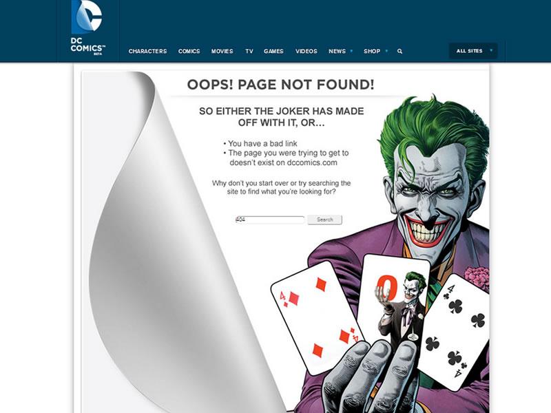 dc comics 404 sayfası