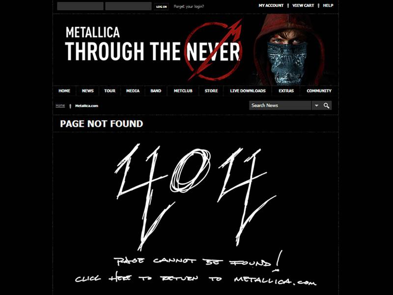 Metallica 404 Sayfası