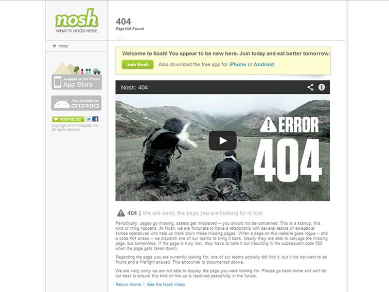 nosh 404 sayfası