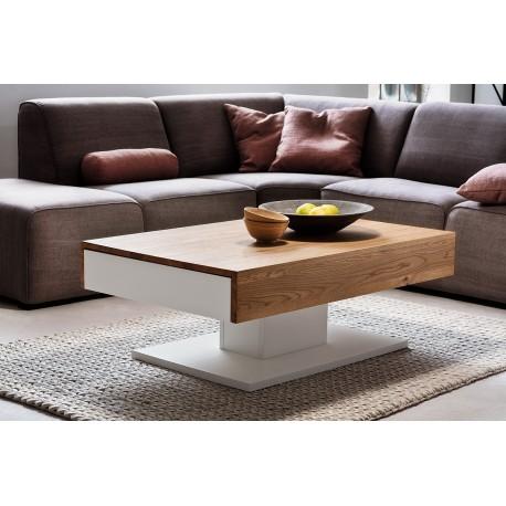 provo white coffee table with oak imitation top