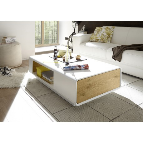 corin matt lacquer coffee table with drawer