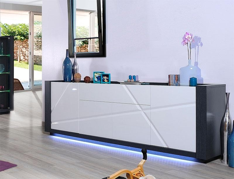 Quartz I Large White Lacquer Sideboard With Dark Wood Body