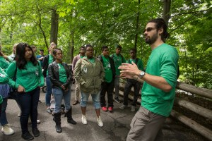 NYC high school students learn about urban ecology from a Fordham University student. Photo credit: Bud Glick