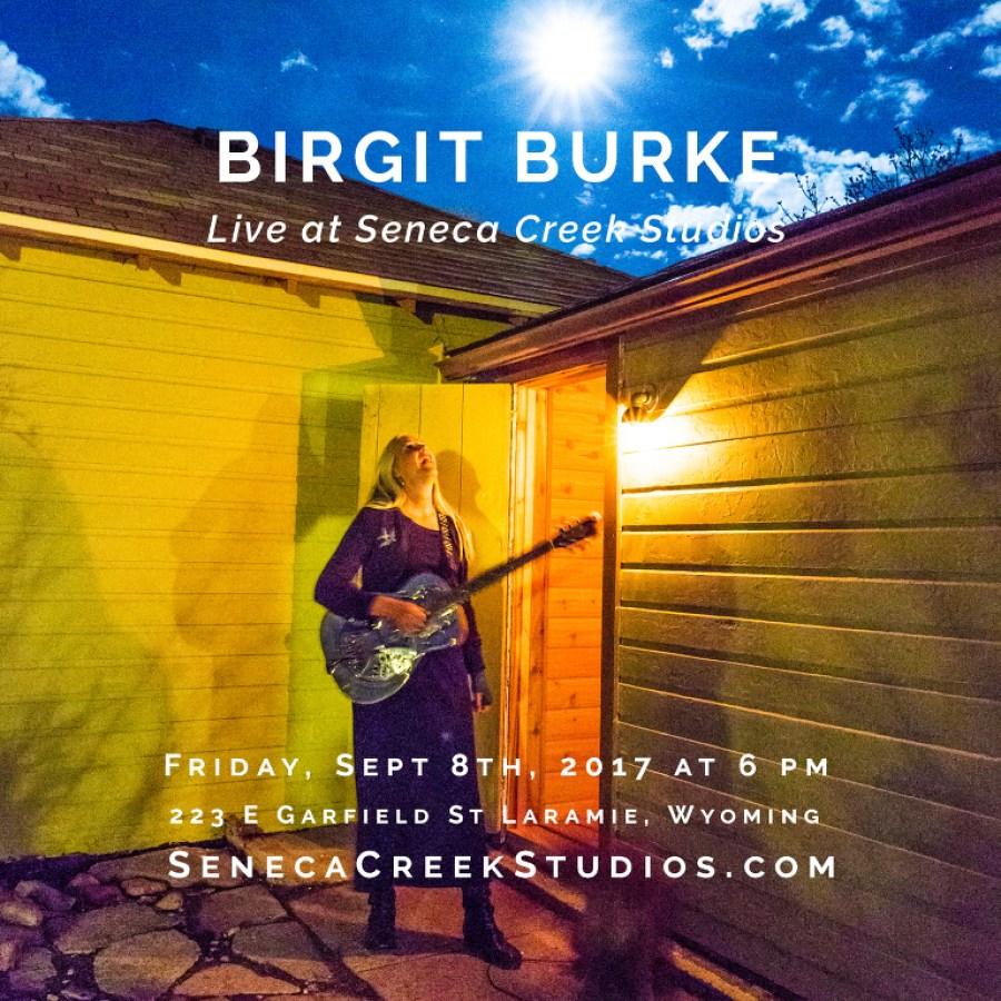SenecaCreekStudios.com by Allison Pluda | Live Acoustic Music and Concert by Folk/Blues Musician Birgit Burke of Whiskey Slaps as part of the Pop-Up Art Walk in historic downtown Laramie, Wyoming | 2017-9-08 Birgit Burke Concert Square Post