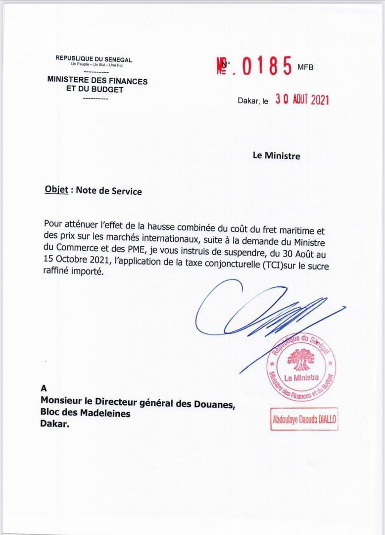 Prix du sucre raffiné importé : L'application de la taxe conjoncturelle (TCI) suspendue...