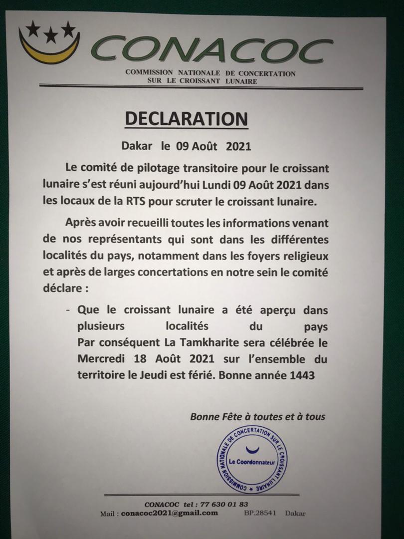 Sénégal : La Tamkharit célébrée le mercredi 18 août (Conacoc)