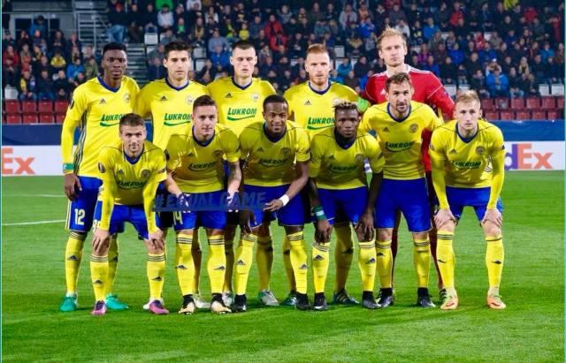 Dame Diop marquant le 1er but de l'histoire de Zlin en Coupe d'Europe