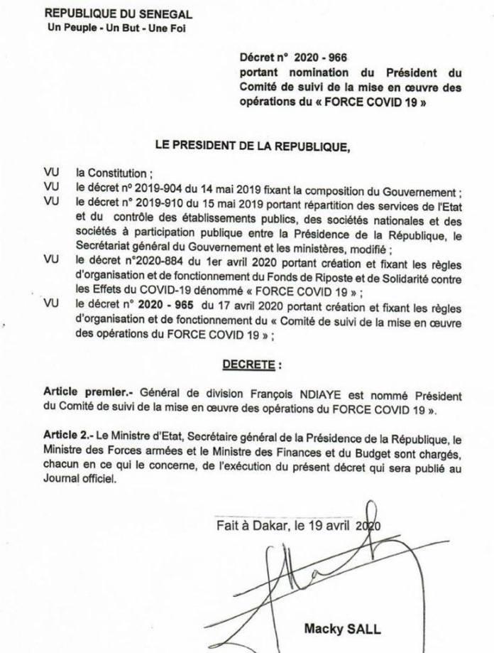 Gestion fonds force-covid-19 : Très respecté dans le milieu,découvrez la face méconnue du général Francois Ndiaye