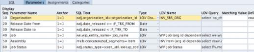 Blitz Report form, parameter block