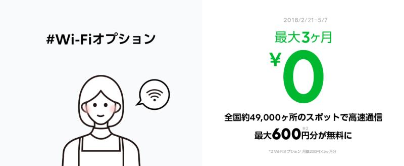 LINEモバイル Wi-Fiオプション最大3ヶ月無料キャンペーン