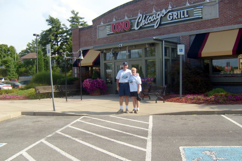 Celebrating our monthaversary at Cafe Uno, Maryville, Tennessee.  July 23, 2009.