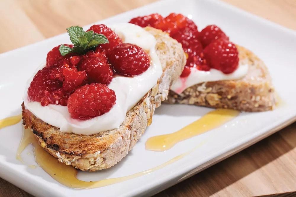 Close up of raspberry dessert