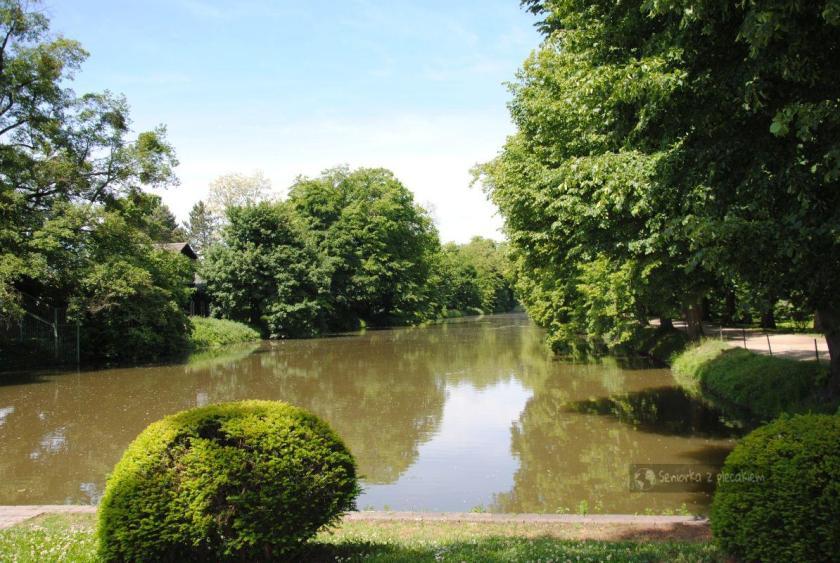 Widok z kawiarni na Ogród Pałacowy w Kromieryż