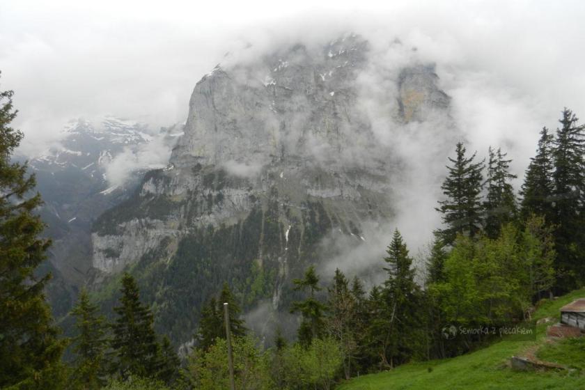 Mgła w Grutschalp w Szwajcarii
