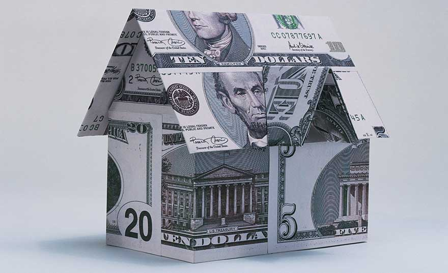 Model home made of money