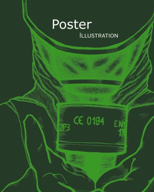poster dividers greens gas mask