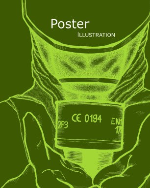 poster dividers light greens gas mask