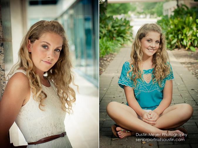 blonde poses for her senior pics