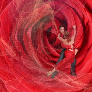 Couple Dancing Overlayed a Rose