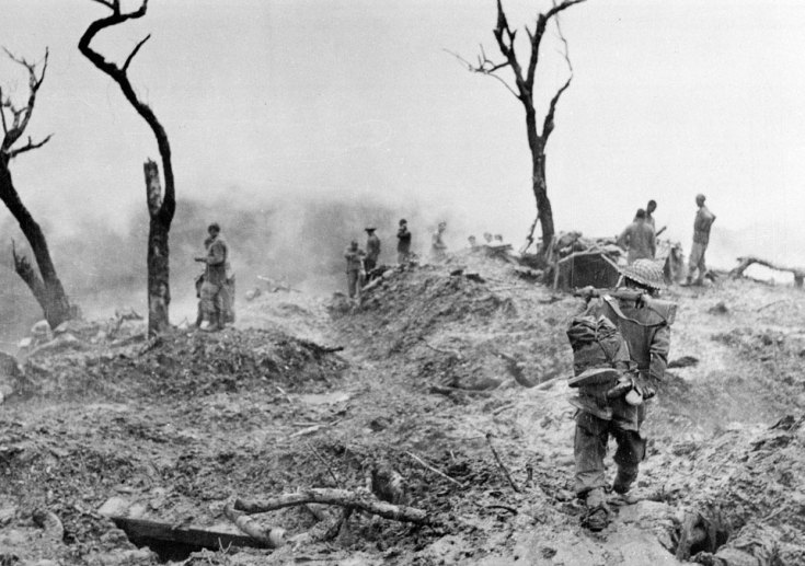 Gurkhas clearing enemy positions on Scraggy Hill near Imphal, April 1944