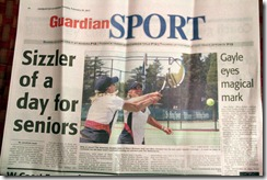 Ginnard, Bronson, front page of Sports in Ashburton