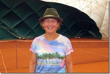 Carolyn indoors with Bavarian hat