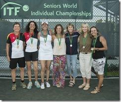 Nov 10, 2017; Miami, FL, USA; Petra Dobusch (GER), Shabnam Siddiqi El Hatri (GER), Cristiane Tassi (BRA), Simone Vasconcellos-Calves (BRA), Gretchen Rush (USA) and Rosalyn Nideffer (USA) WD50