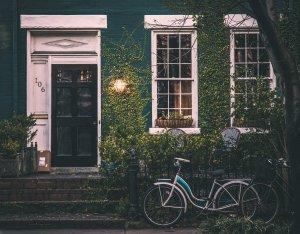 vintage, house, bicycle