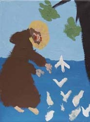Alex Mulhall, St. Francis and the Birds, flashe vinyl on canvas, 2009.
