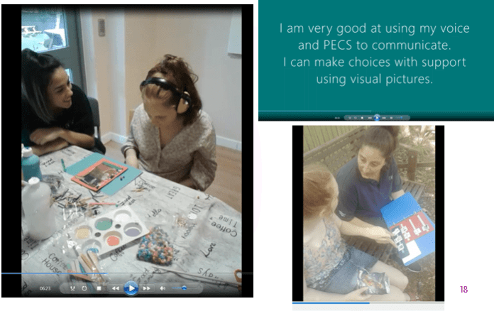 Pictures from a digital story; featuring text 'I am very good at using my voice and PECS to communicate. I can make choices with support using visual pictures.' and pictures of E doing those activities.