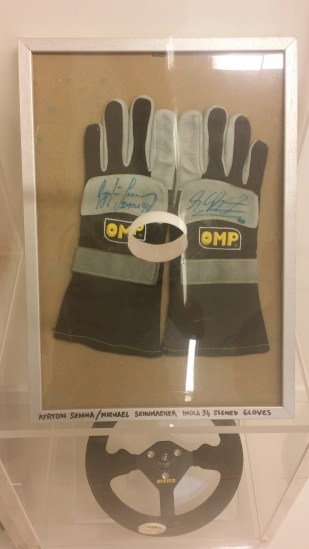 Gloves signed by Senna and Schumacher Imola 1994