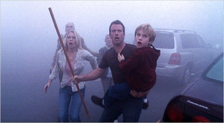 "Laurie Holden, Thomas Jane, center, and Nathan Gamble in ""The Mist,"" a horror film directed by Frank Darabont."