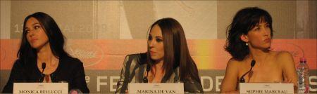 Monica Bellucci, Marina de Van, Sophie Marceau PK 'Don't Look Back' Cannes © sennhauser