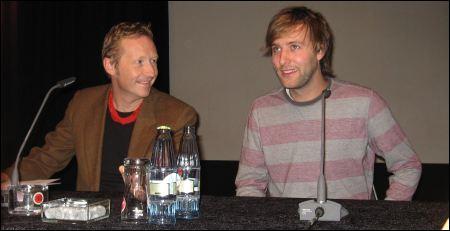Nicolas Steiner (rechts) an den Duisburger Filmtagen 2011 (mit Till Brockmann) ©sennhauser