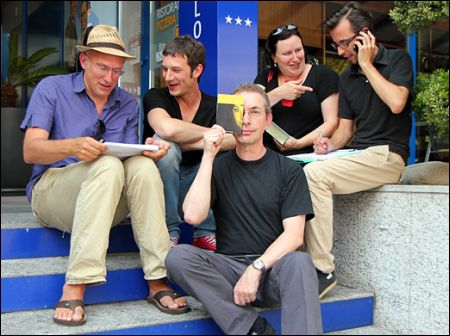 Die diesjährige Locarno-Crew: Eric Facon, Samuel Wyss, Michael Sennhauser, Brigitte Häring, Christian Gebhard.