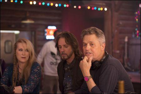 Meryl Streep, Rick Springfield und Regisseur Jonathan Demme auf dem Set