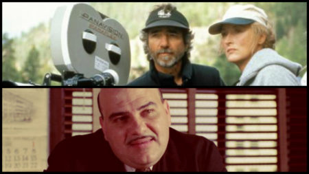 Curtis Hanson mit Meryl Streep auf dem Set von 'The River Wild' (1994) und Jon Polito als Johnny Caspar in 'Miller's Crossing' (1990)
