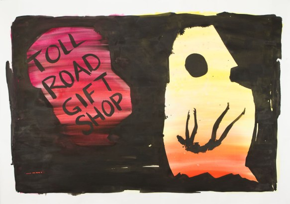 <em>Toll Road Gift Shop</em>, 2017, ink on paper, 51 x 72 in.
