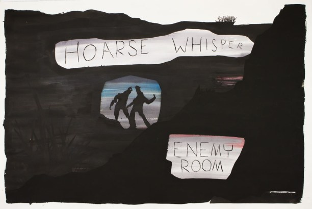 <em>Hoarse Whisper Enemy Room</em>, 2017, ink and acrylic on paper, 51 x 72 in.
